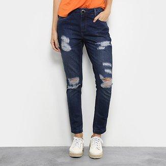 5201e9f1c Calça Jeans Skinny Morena Rosa Bordado Cintura Média Feminina