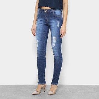 7a728e8e8 Calça Jeans Skinny Morena Rosa Puídos Cintura Média Feminina