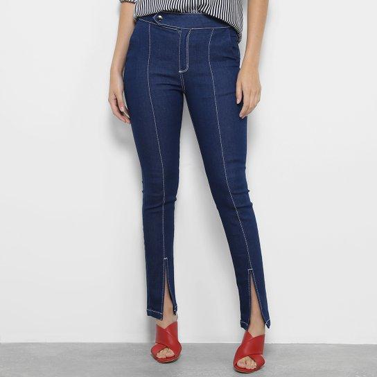bdadc25c6 Calça Jeans Skinny Morena Rosa Isabelli Pespontos Fendas Cintura Média  Feminina - Azul Escuro