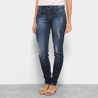 0714c49111 Calça Jeans Skinny Morena Rosa Rasgos Cintura Média Isabelli Feminina