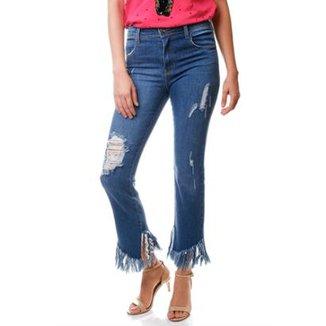2d1898b88 Calça Jeans Multi Ponto Denim Reta Franjas