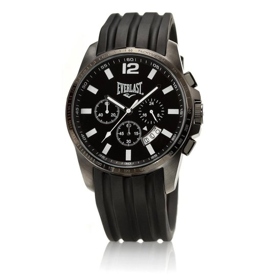53d487b026d Relógio Masculino Everlast Pulseira Silicone E216 Analógico - Preto+Branco