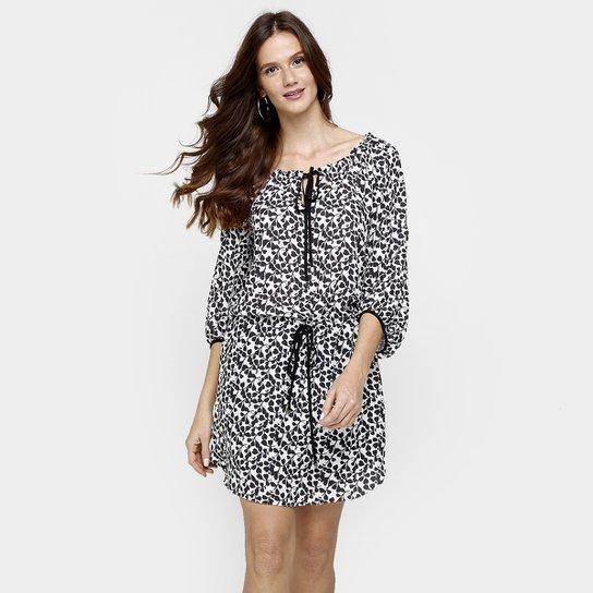 2b450d4ca Vestido Iódice Blusê Amarração - Preto+Branco