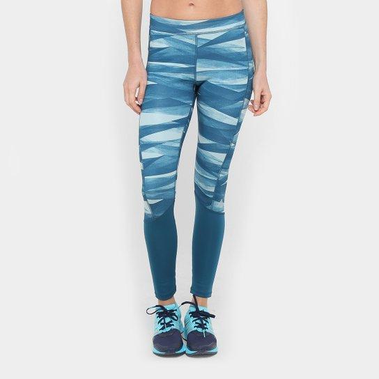 Calça Legging Adidas TechFit Print Feminina - Azul e Branco - Compre ... 8982f6fdb2393