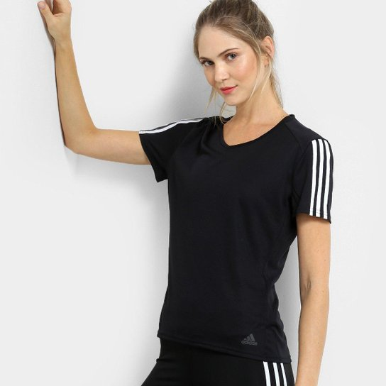 Camiseta Adidas Run 3S Feminina - Preto e Branco - Compre Agora ... adad37123e00f