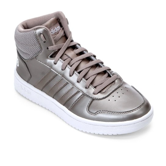 33fa949b8b Tênis Adidas Hoops 2 0 Mid Feminino - Cinza e Branco - Compre Agora ...