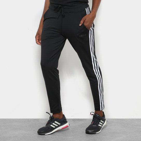 Calça Legging Adidas D2M Climalite 3 Stripes Feminina - Preto+Branco 288e38ad4e3be