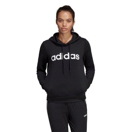 cfb5b17226a Moletom Adidas Essentials Linear Feminino - Preto e Branco - Compre ...