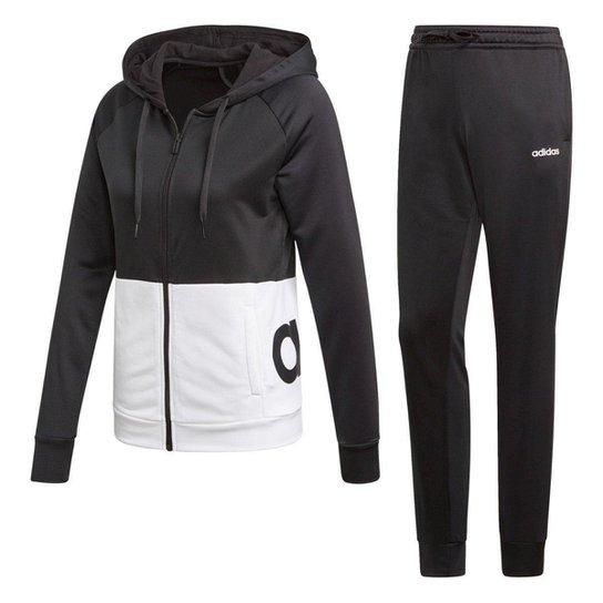 416b6413d4d Agasalho Adidas Detalhe Logo WTS Lin Hood Feminino - Preto e Branco ...