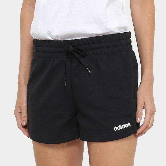 2abb00569 Short Moletom Adidas Aplique Logo PLN Feminino - Preto e Branco ...