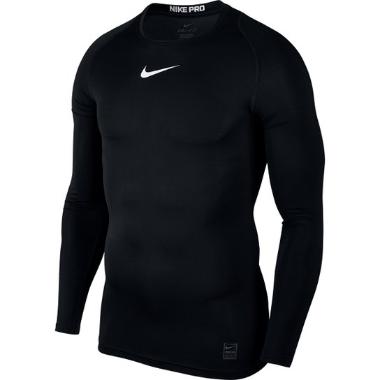 232ea39065a8a Camiseta Compressão Nike Pro Manga Longa Masculina - Preto e Branco ...
