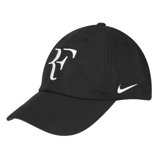 Boné Nike Aba Curva Aerobill Federer H86 - Preto e Branco - Compre ... 1b94fd2258842