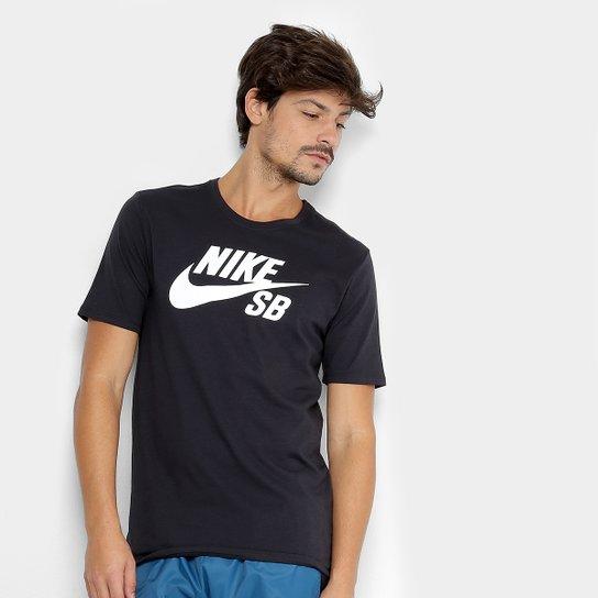 e3d6c73bf9 Camiseta Nike Sb Logo Masculina - Preto e Branco
