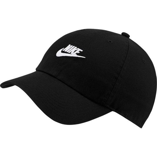 Boné Nike Aba Curva U Nsw H86 Futura Washed - Preto e Branco ... 07a027c9c94