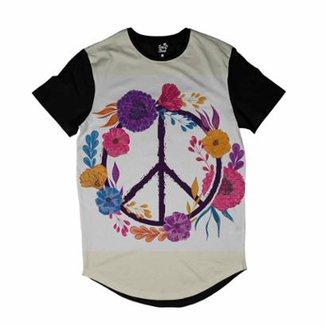Camiseta Longline Long Beach Simbolo da Paz com Flores Sublimada Masculina d1e1c27aad3