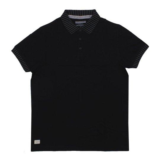 ccbb29e173 ... Camiseta Kevingston Gola Polo Chomba Jasper Masculina - Preto+Branco  d286fddcea9169 ...