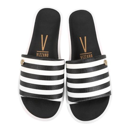 Chinelo Vizzano Slide Listrado Feminino - Preto e Branco - Compre ... 9d44843f39a70