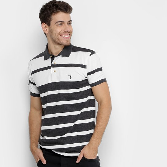 0e5e28be55 Camisa Polo Aleatory Listras Masculina - Cinza+Branco