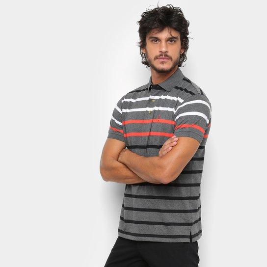 12a49937e4 Camisa Polo Aleatory Fio Tinto Listrada Masculina - Cinza e Branco ...