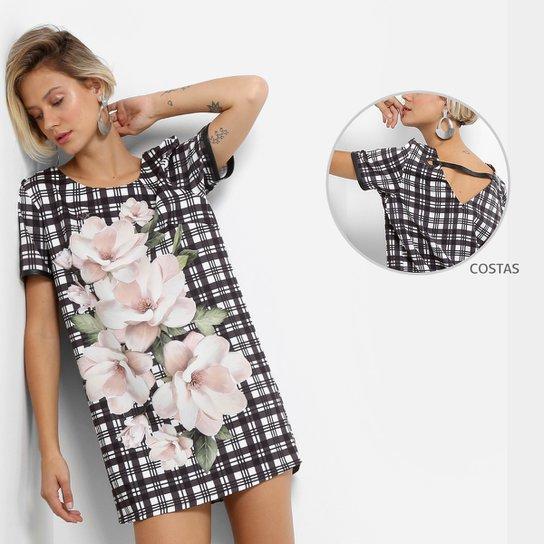 5c9ae74d8 Vestido Lança Perfume Evasê Curto Estampado - Preto e Branco | Zattini