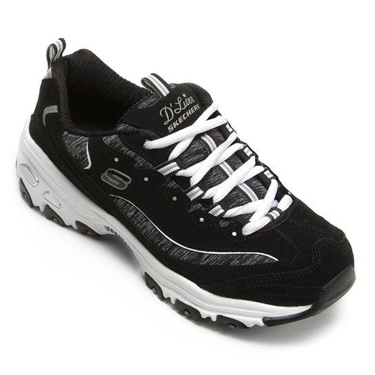 4165a816966b33 Tênis Couro Skechers D'Lites Me Time Feminino - Preto e Branco | Zattini