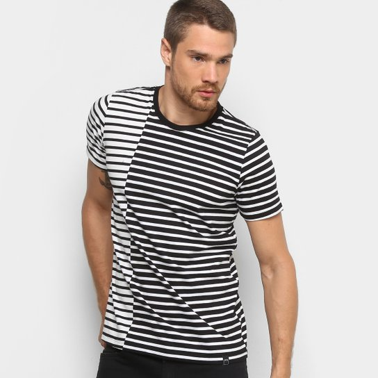 0ff739445 Camiseta Listrada Dimy Manga Curta Masculina - Preto e Branco ...