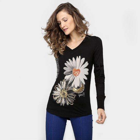 014e05e86d6 Blusa Desigual Estampa Flores Bordado - Compre Agora