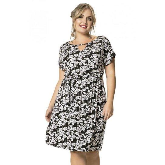 18bba8d84f Vestido Viscose Stretch Floral Wee! Plus Size - Preto+Branco