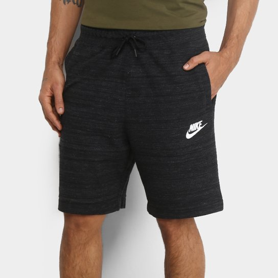 5116cde49865b Bermuda Moletom Nike Nsw Masculina - Preto e Branco - Compre Agora ...