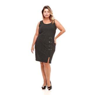 9e83e2fc8 Vestido Melinde Plus Size Fenda Ilhós