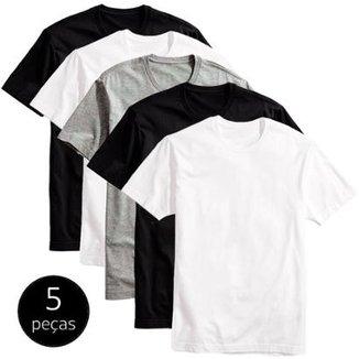 Kit 5 Camisetas Básicas Masculina T-Shirt Algodão Colors Tee 80543e94a131b