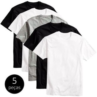 751c423ce0 Kit 5 Camisetas Básicas Masculina T-Shirt Algodão Colors Tee