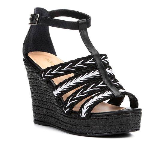 4627a7c88 Sandália Plataforma Couro Shoestock Tranças Feminina - Preto+Branco