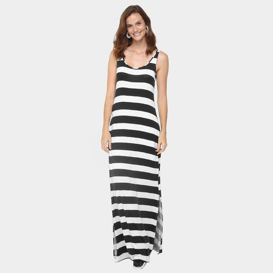 1861dd13ff Vestido Lunender Longo Listrado - Preto+Branco