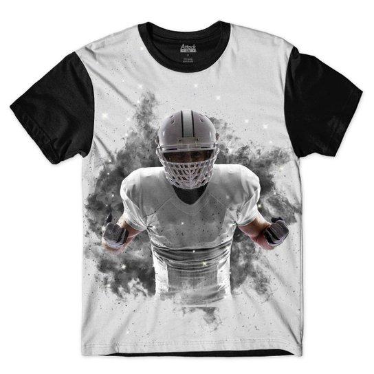 Camiseta Attack Life Futebol Americano Explosivo Sublimada Masculina - Preto +Branco a8bdd269fee9b