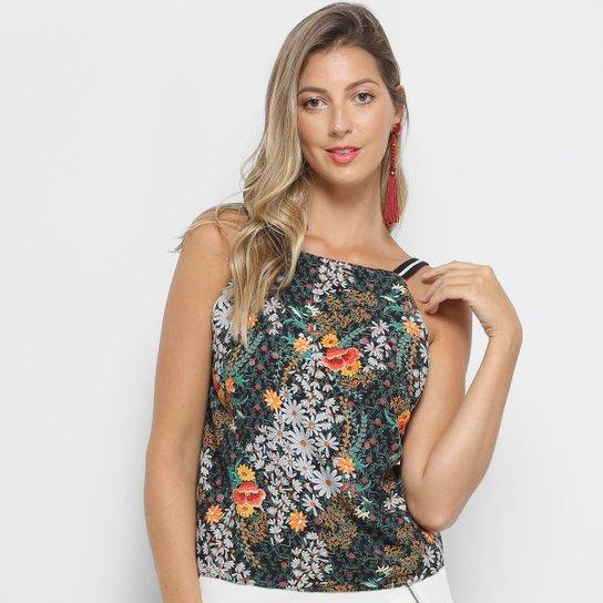19733248a97f0 Blusa Lez a Lez Floral Tiras Gorgurão Decote Costas Feminina - Preto+verde