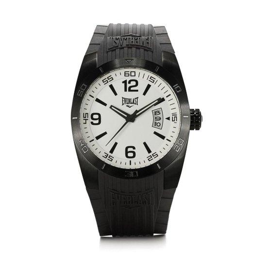 ca2544f105f Relógio Pulso Masculino Everlast Pulseira Silicone Analógico - Branco+Preto