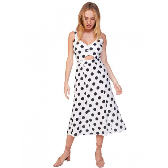a2e444a5d3 Vestido Amaro Midi De Linho Feminino - Branco+Preto