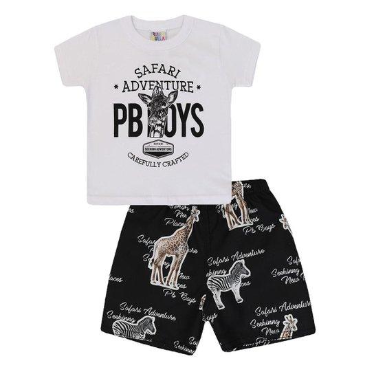 e37f31448b5a0 Conjunto Infantil Camiseta Bermuda Safari Pulla Bulla Masculino - Branco+ Preto