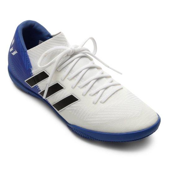 86098c9131 Chuteira Futsal Infantil Adidas Nemeziz Messi 18 3 IN - Branco+Preto