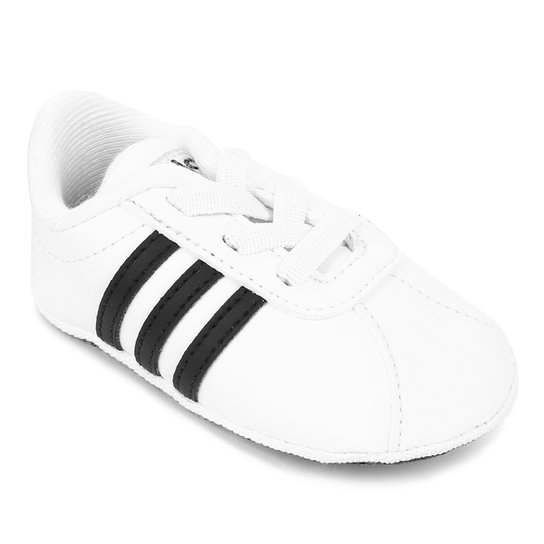 b373c6378b Tenis Infantil Adidas Court 20 - Branco e Preto - Compre Agora