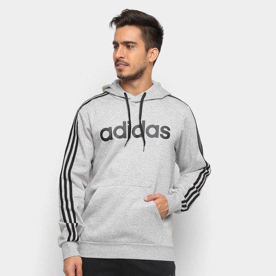 1494be2f32e Moletom Adidas Estampa Logo E 3S PO FL Masculino - Cinza e Preto ...