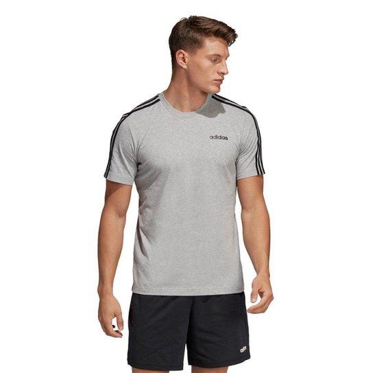 b274bdc78 Camiseta Adidas Eseentials 3-Stripes Masculina - Cinza e Preto | Zattini