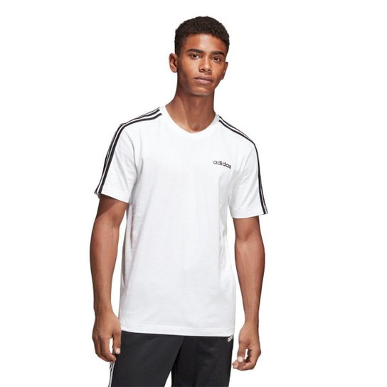 e6c2ea1ebda90 Camiseta Adidas Essentials 3-Stripes Masculina - Branco e Preto ...