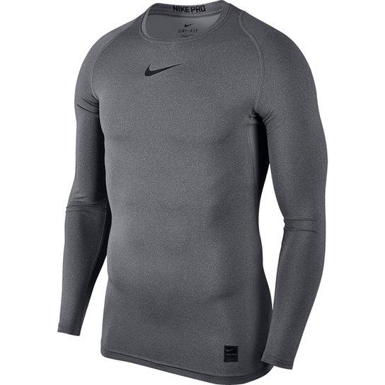5a3f2c50b2 Camiseta Compressão Nike Pro Manga Longa Masculina - Cinza e Preto ...