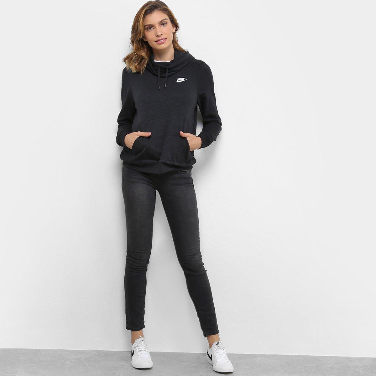 e9af8c0b7c3 Moletom Nike Sportswear Funnel-Neck Feminino