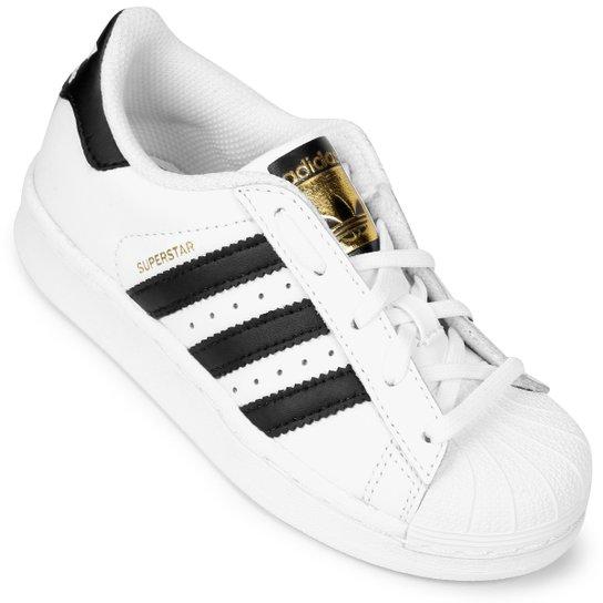 6a9a1bf6247e7 Tênis Adidas Superstar Foundation El Infantil - Branco e Preto ...