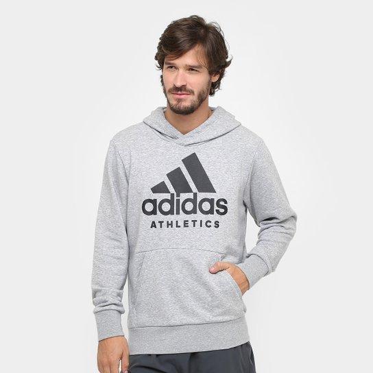 0bb7ca917e Moletom Adidas Sport Id Branded Pullover French Terry C  Capuz Masculino -  Cinza+Preto