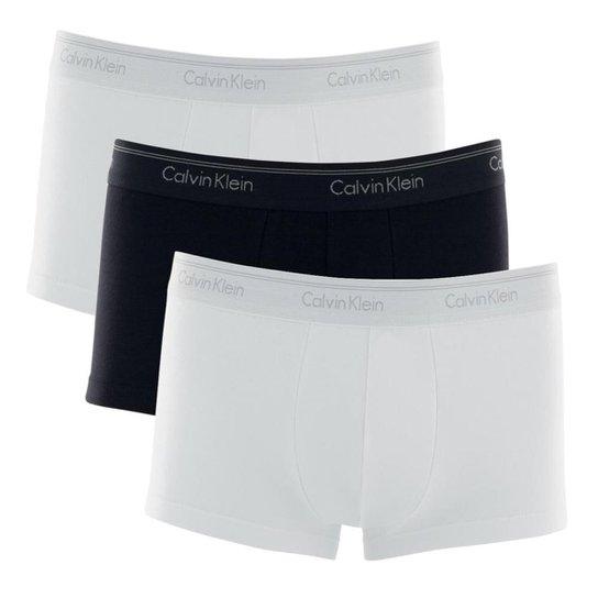 0084bc31a5f18 Kit 3 Cuecas Boxer Calvin Klein Low Rise Trunk Algodão Cotton CK -  Branco+Preto