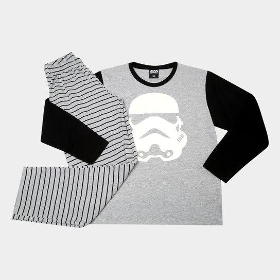 a900b6349187d Pijama Infantil Lupo Star Wars Brilha No Escuro Longo Masculino -  Cinza+Preto